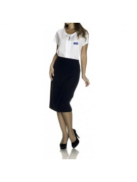 receptionist t-shirt and Blue skirt